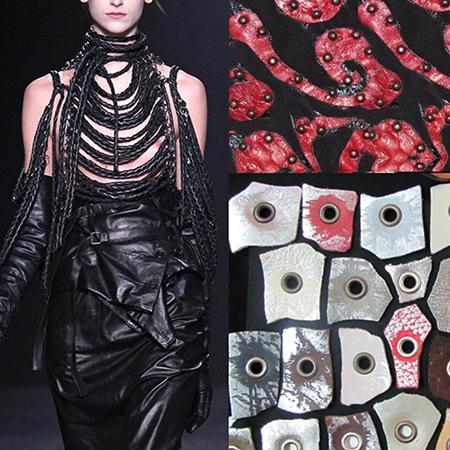 Arte Textil, Eco Fashion Técnica retazos de cuero